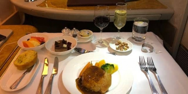 Emirates First Class Meals