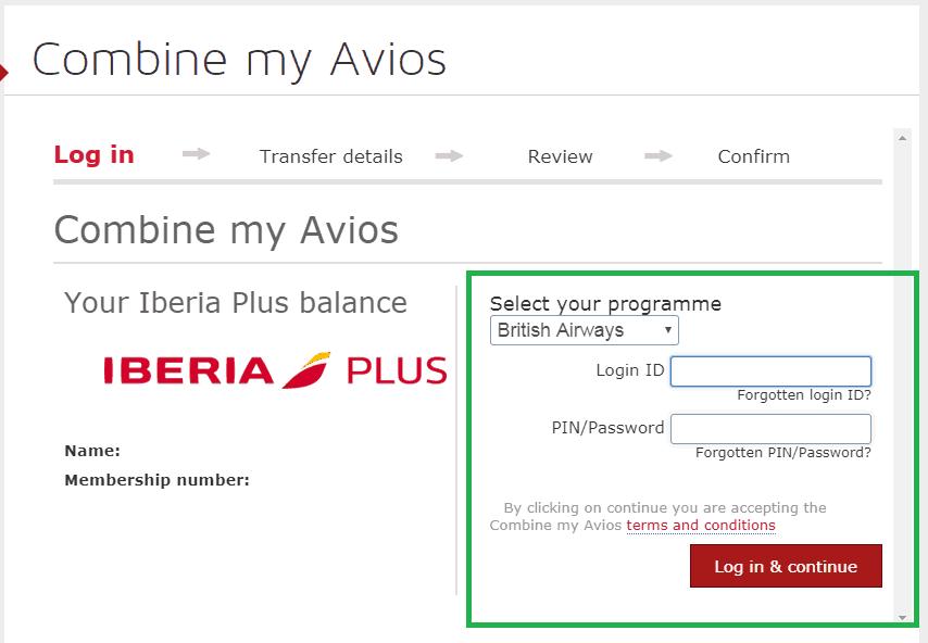 Transfer Avios Points from Iberia to BA