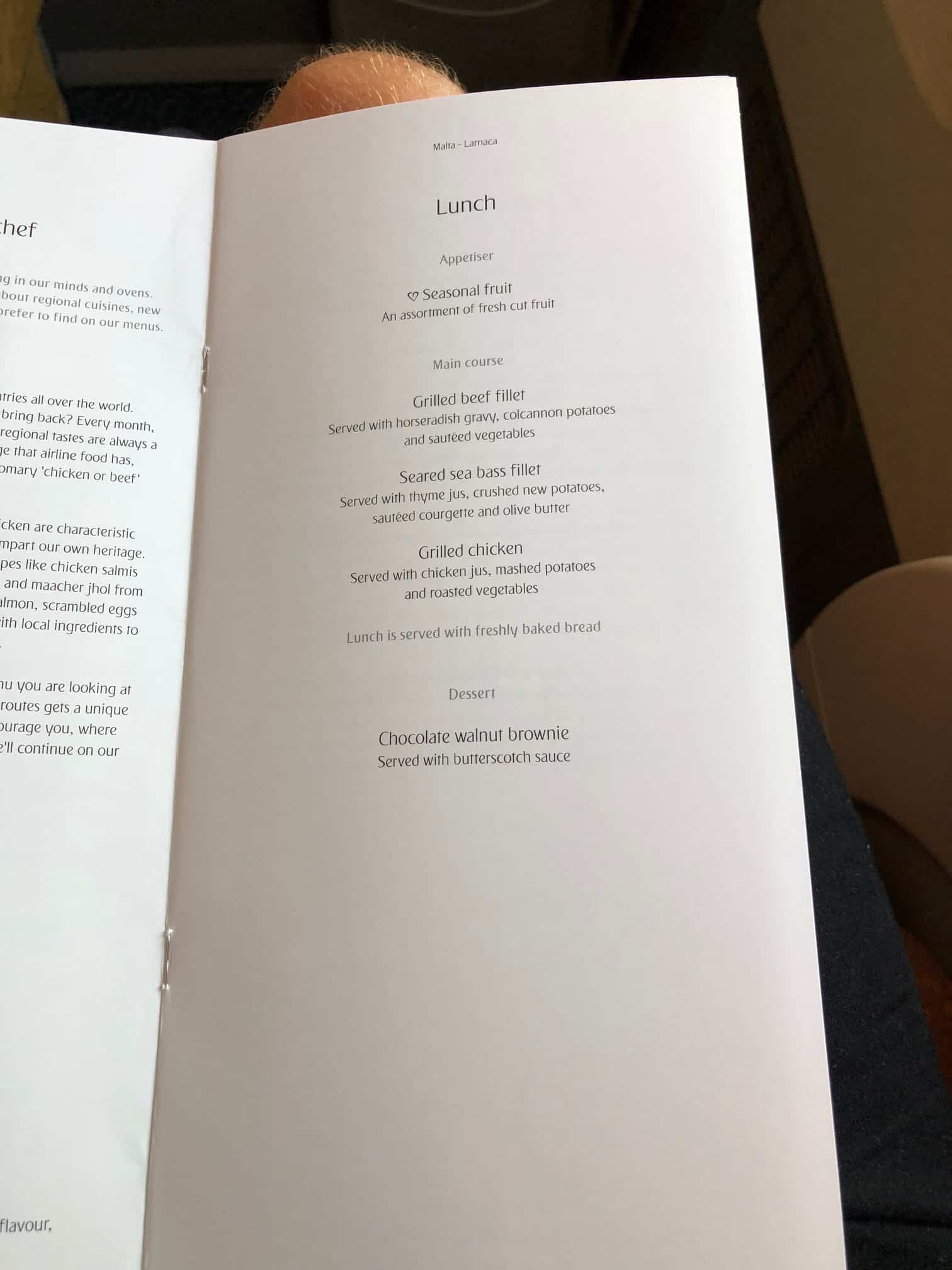 Emirates Business Class Menu