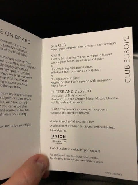 British Airways Club Europe Menu
