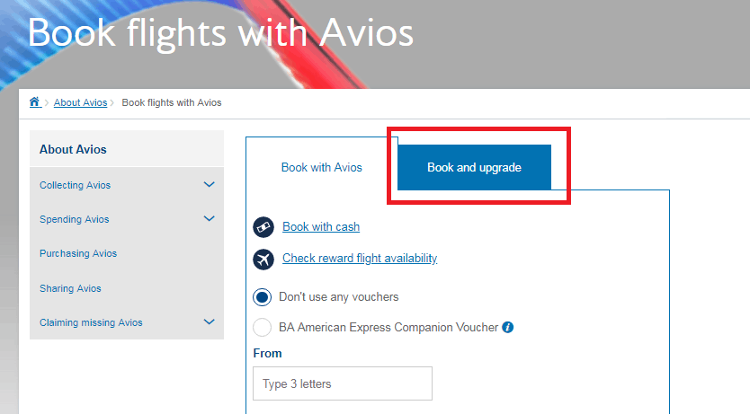BA upgrade with Avios