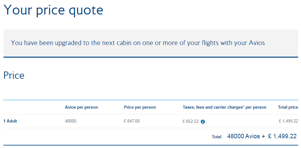 British Airways Upgrade Cost