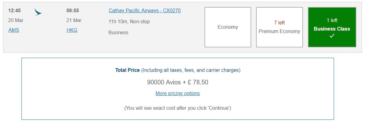 Avios Cathay Pacific