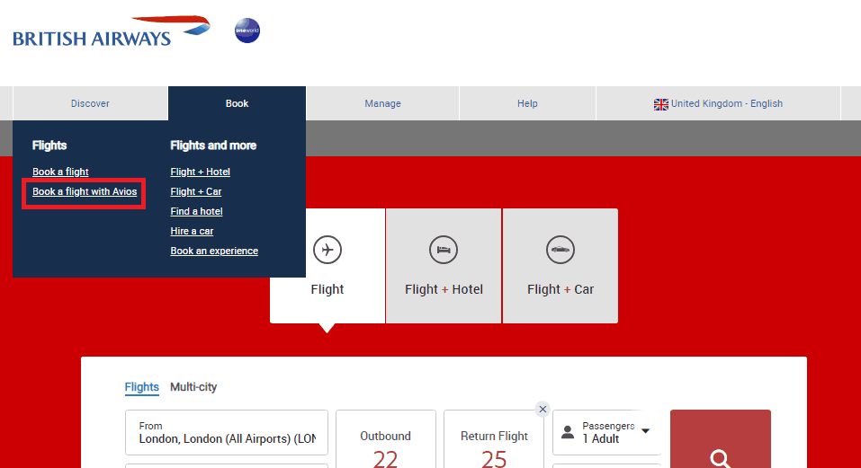 upgrade British Airways Flight with Avios