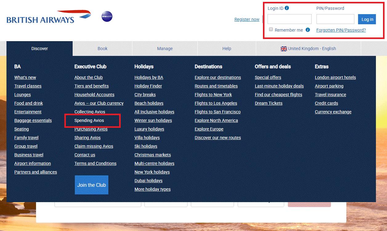British Airways rewards flights