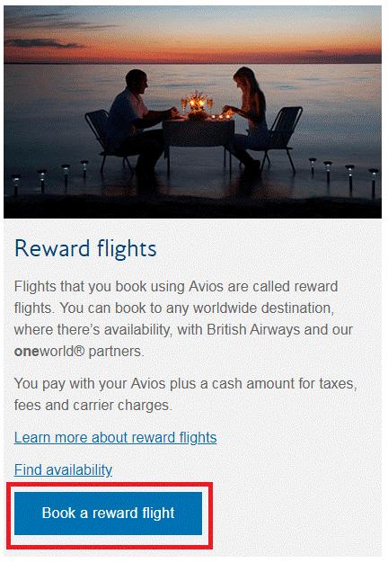 Reward flights BA
