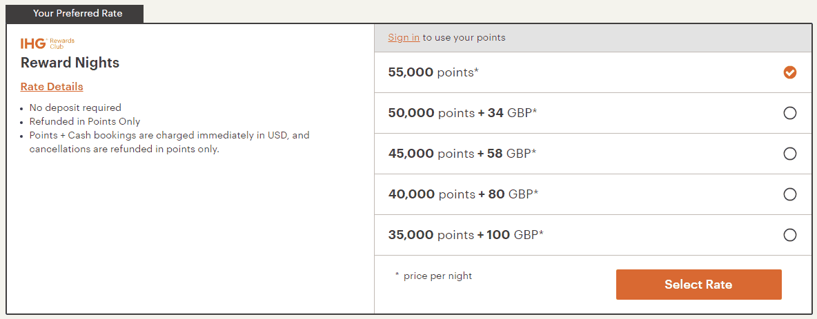 IHG points and cash trick