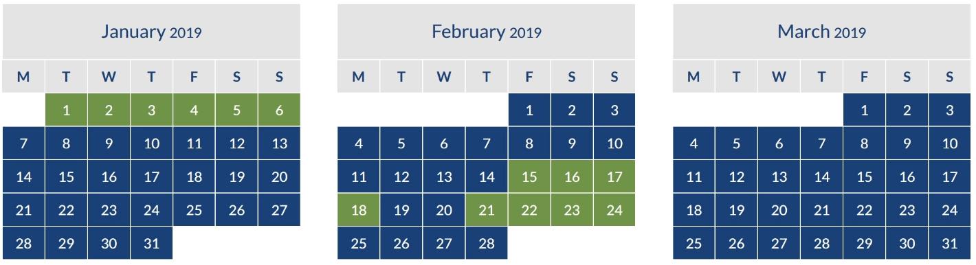 BA off Peak Calendar