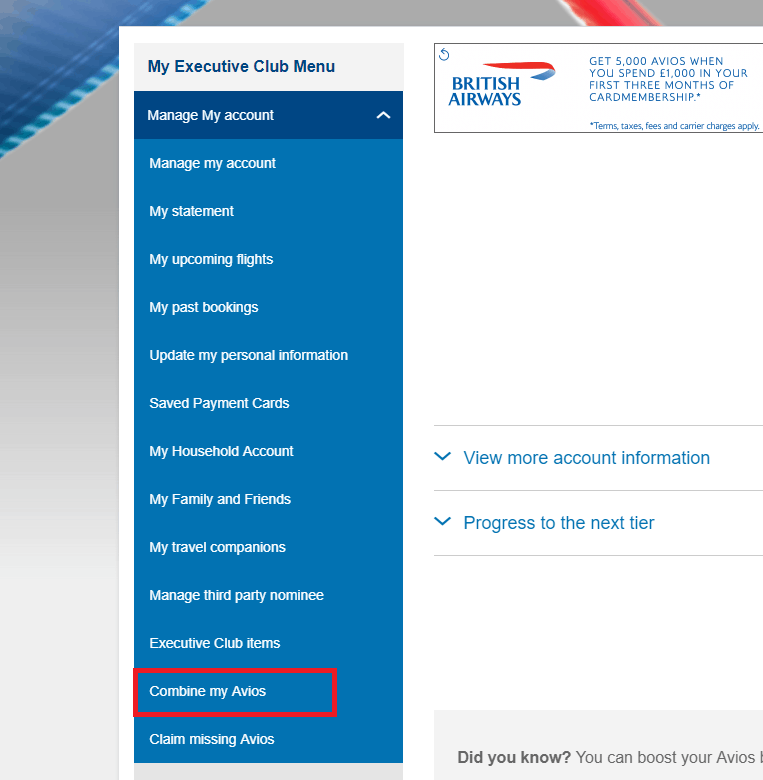 British Airways website