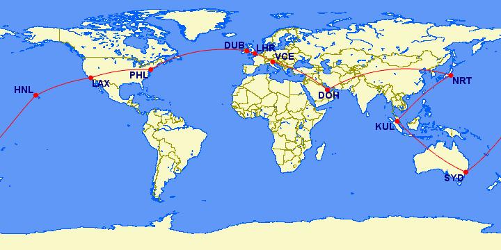 how many avios to fly around the world