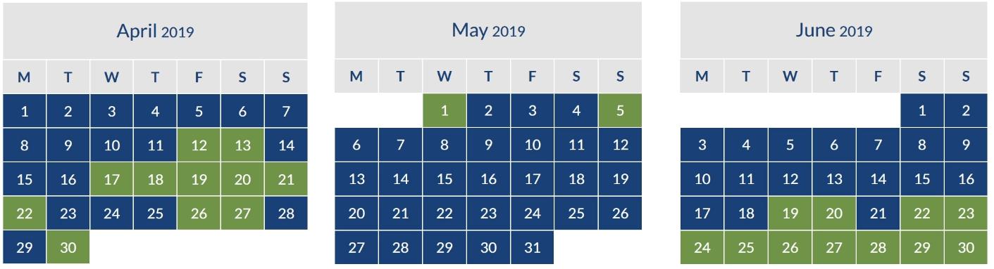 Iberia Peak Calendar