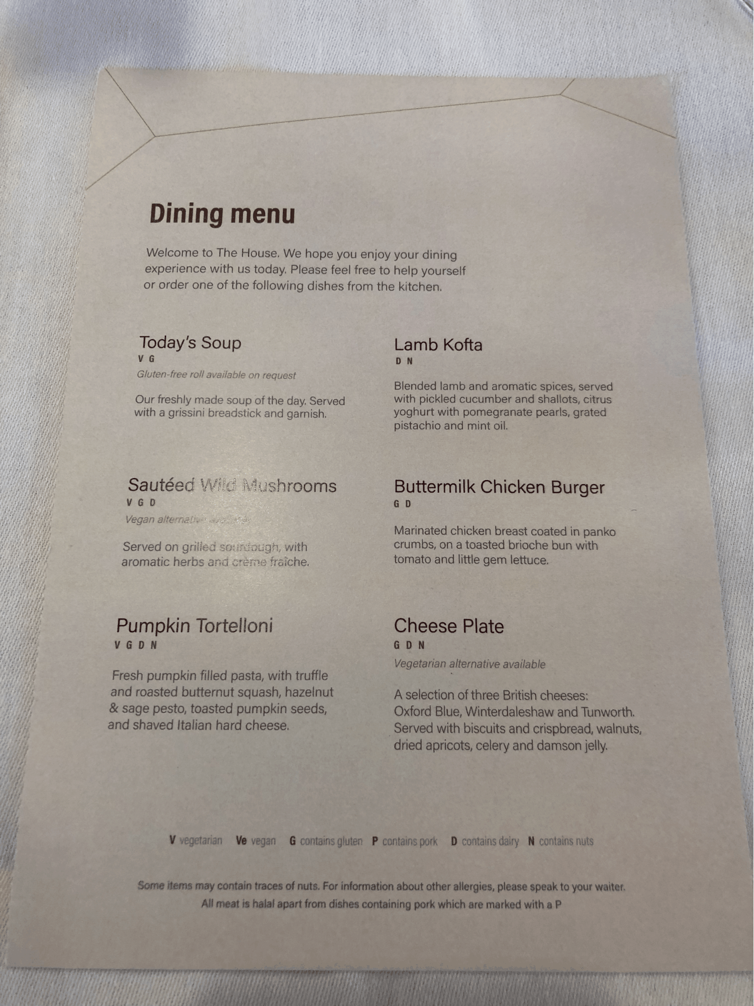 No 1 Lounge Heathrow Terminal 4 Menu